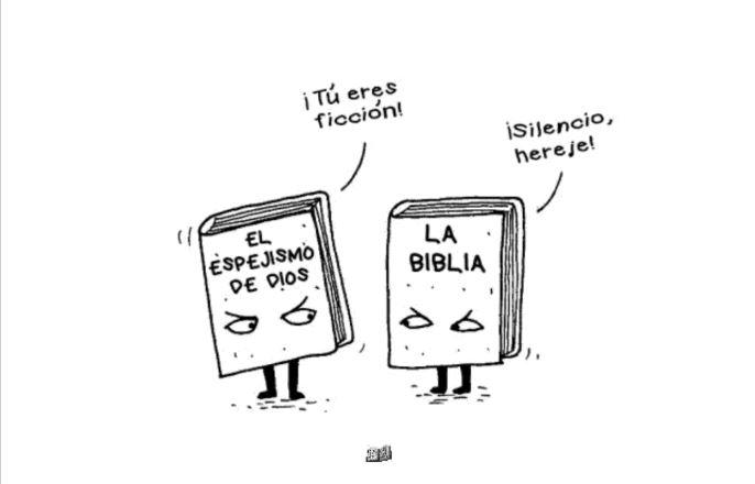 Ilustración cómica de dos libros hablando entre ellos