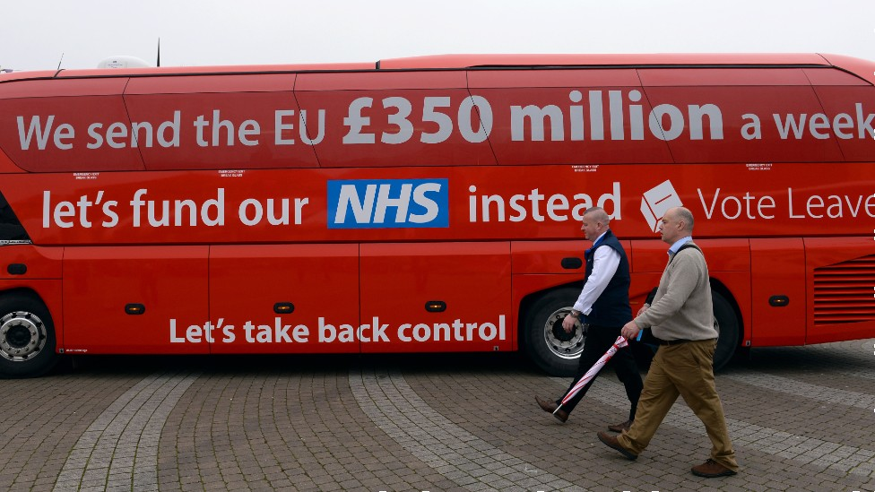 Vote Leave bus with £350m NHS claim