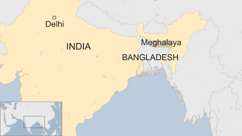 A BBC map showing the location of Meghalaya state in India