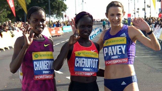 Kenya's Doris Changeywo, Vivian Cheruiyot and GB's Jo Pavey
