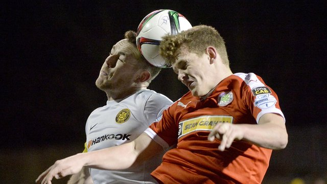 Action from Cliftonville against Carrick Rangers