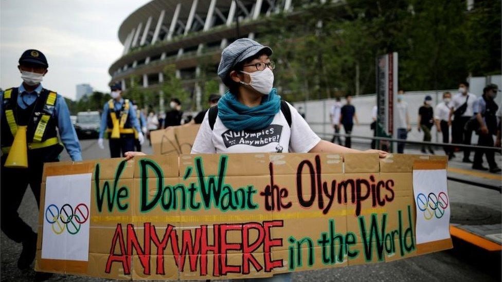 Una manifestación contra Tokio 2021