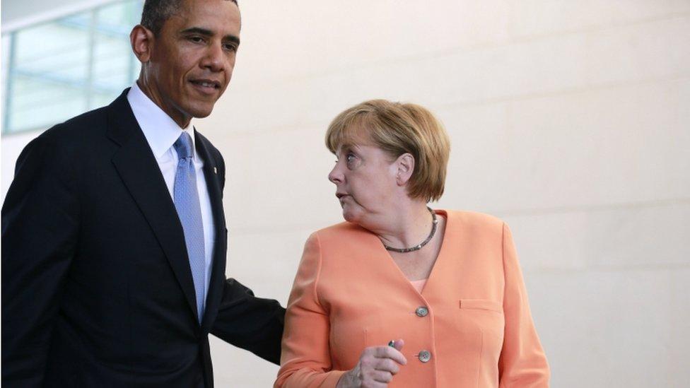 奧巴馬和默克爾,資料圖片 2013年6月19日