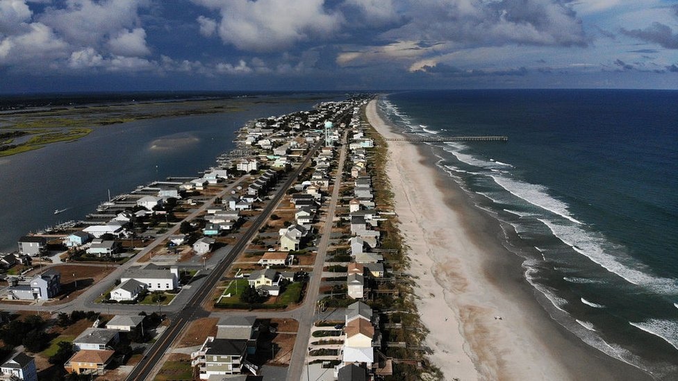 The barrier islands of the Carolina coastline are only several meters-wide in place