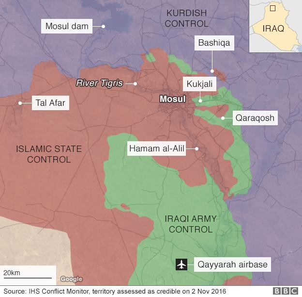 Territory held around Mosul 2 Nov