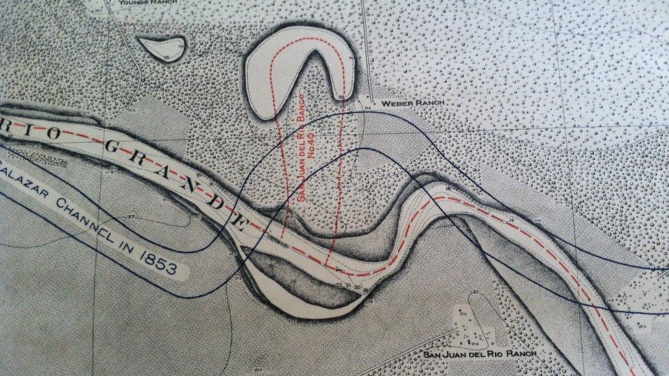 Mapa de 1853 que muestra la ubicación del rancho de los Webber.
