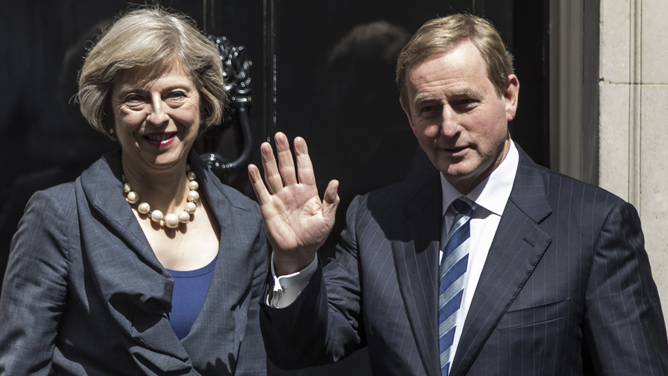 The Irish Taoiseach Enda Kerry is greeted by British Prime Minister Theresa May on the steps of 10 Downing Street on July 26, 2016 in London, England.
