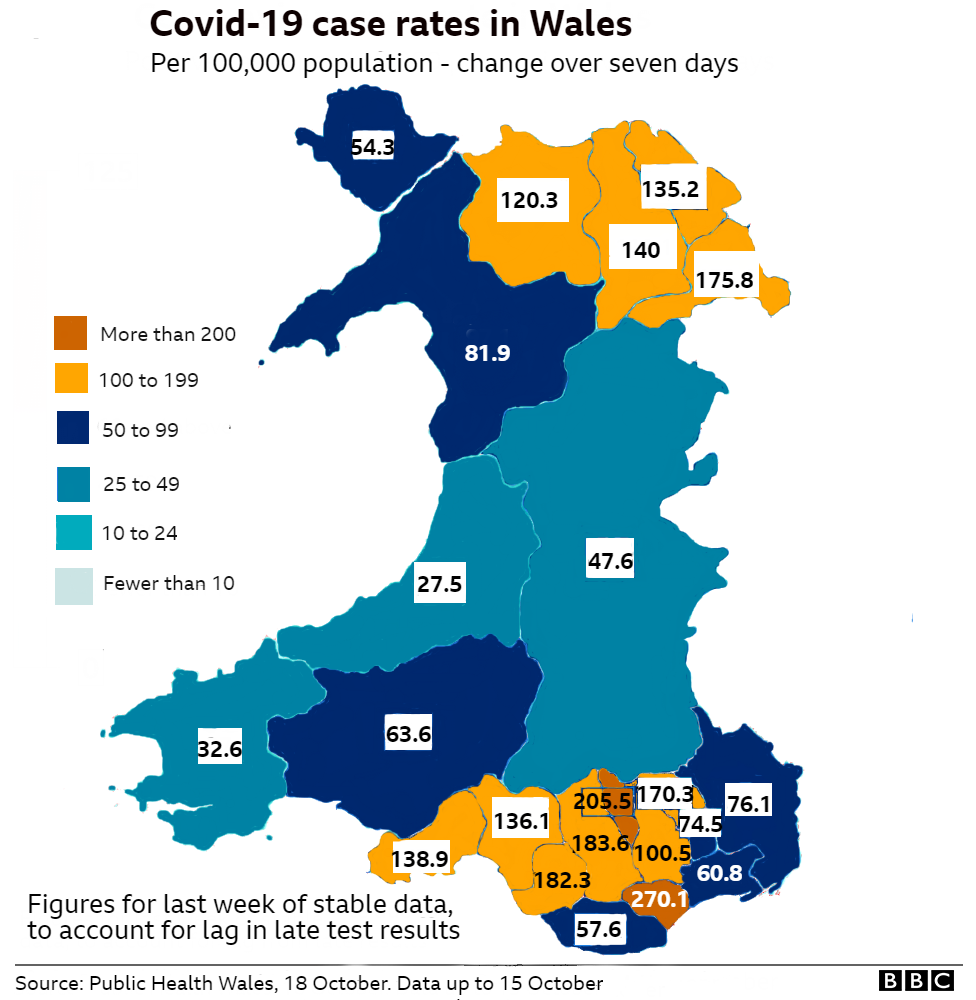 Map of Covid cases in Wales
