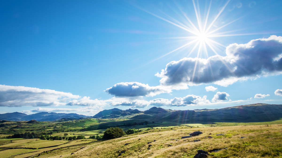 Bright sunshine in the Lake District