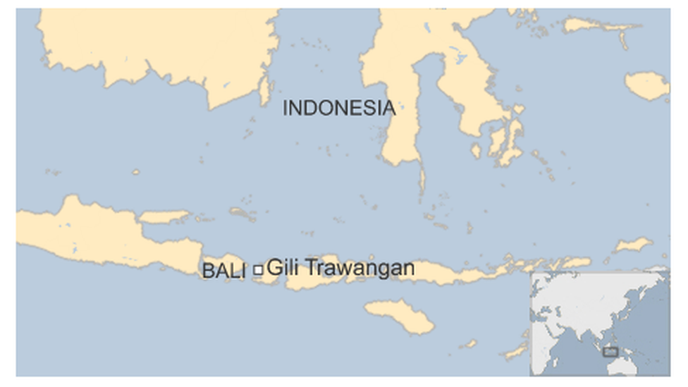 Map of Bali and Gili Trawangan in Indonesia