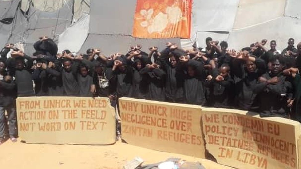 Migrants protesting at a detention centre in Zintan, Libya - July 2019
