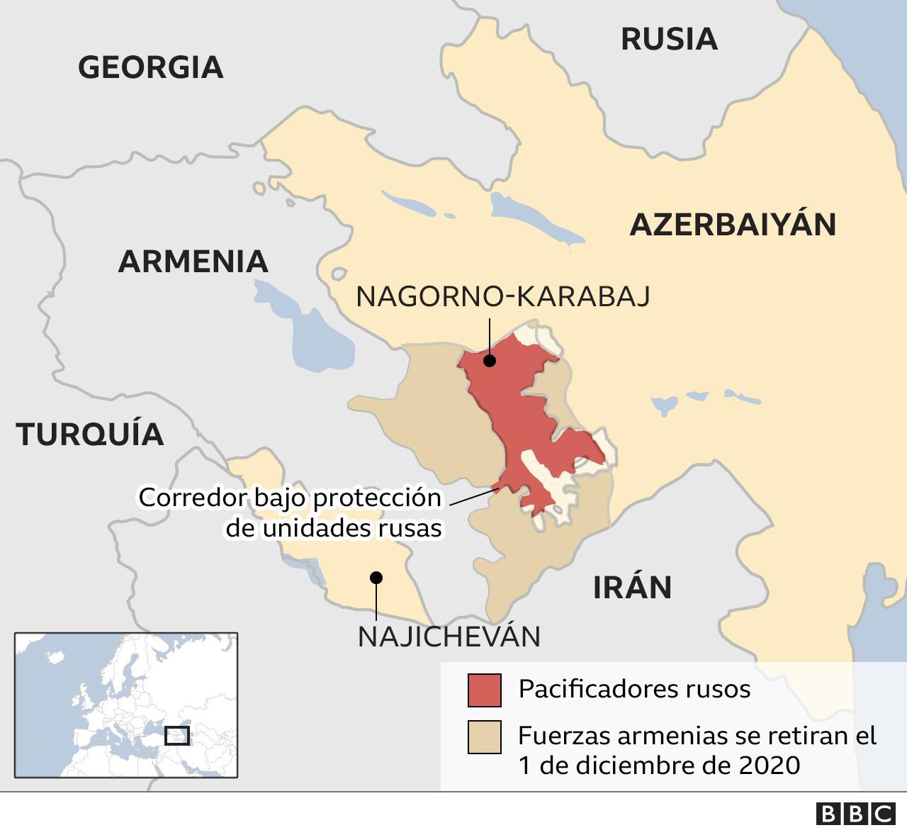 mapa del conflicto en Nagorno Karabaj