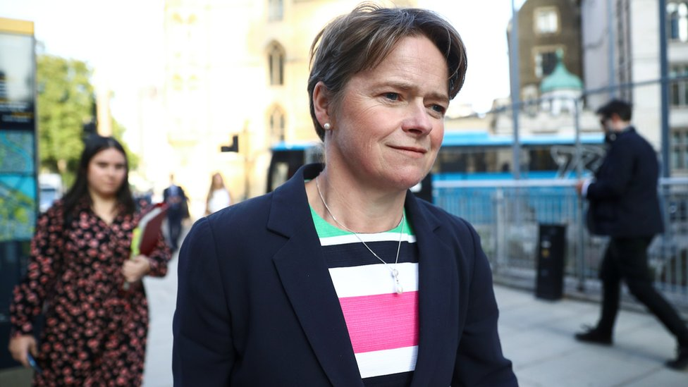 Dido Harding, Executive Chair of NHS Test and Trace walks down the street amid the outbreak of the coronavirus disease