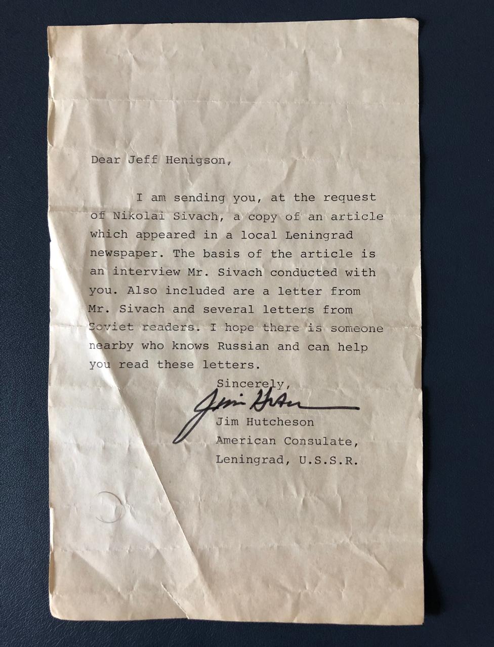 Carta desde el consulado estadounidense.