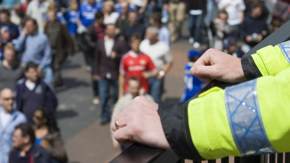 Police officer watches crowd