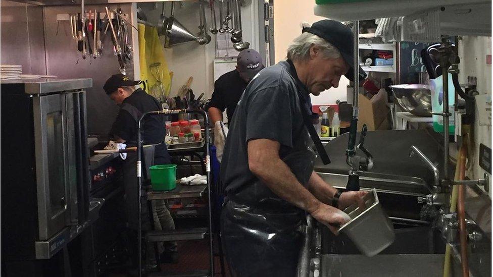 Bon Jovi in his food kitchen
