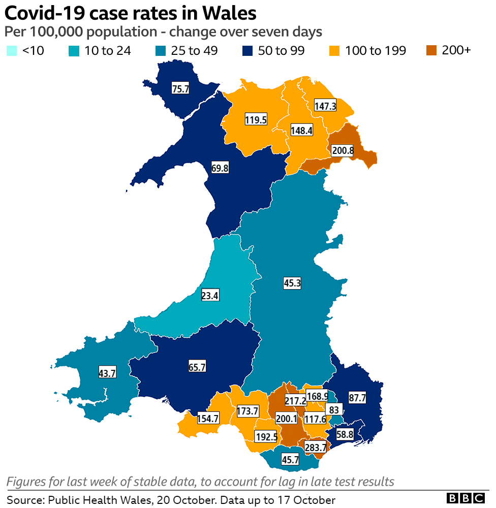 Map showing case rates across Wales