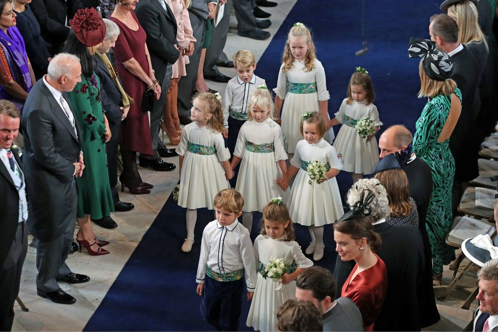 The bridesmaids and page boys arrive for the wedding of Princess Eugenie to Jack Brooksbank at St George's Chapel in Windsor Castle, Windsor, Britain, October 12, 2018