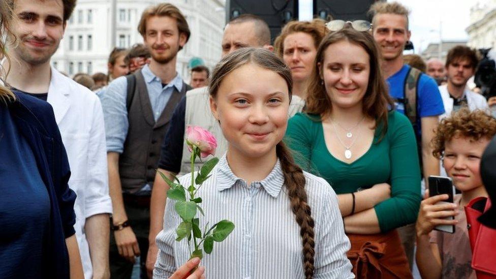 Greta Thunberg Viyana'daki bir gösteride