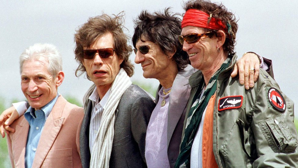 The Rolling Stones in 2002, from left to right; Charlie Watts, Mick Jagger, Ronnie Wood and Keith Richards