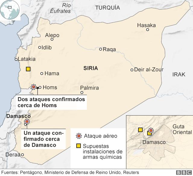 Mapa de Siria con objetivos impactados