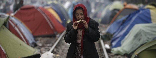 Migrant on Greece-Macedonia border, 8 March