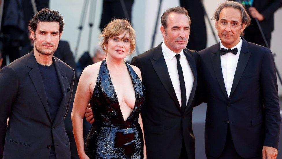 Left-right: Actors Jean Dujardin, Emmanuelle Seigner and Louis Garrel and composer Alexandre Desplat