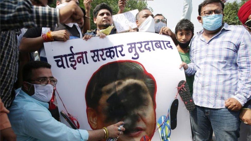 2020年6月22日,印度反華示威