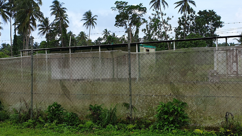 A barbed wire fence outside an asylum seeker compound on Manus Island