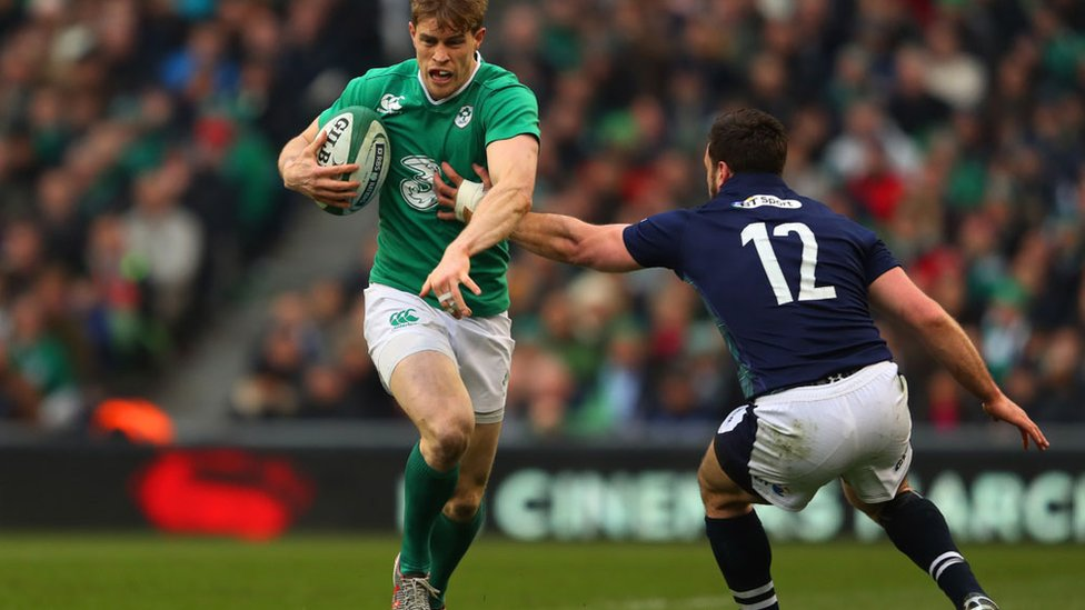 Pringle playing for Ireland against Scotland
