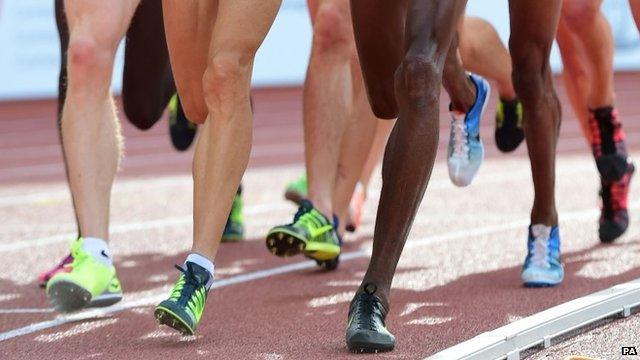 Athletes on a track