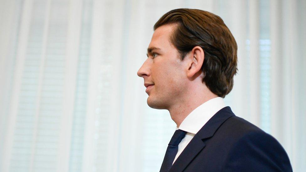 Austrian Chancellor Sebastian Kurz, seen in profile