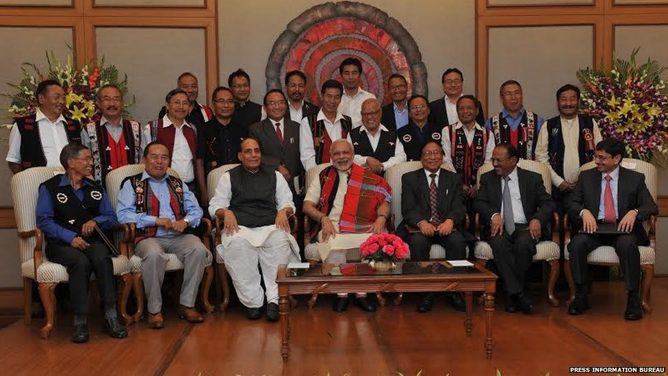 Mr Modi in a group photo at the signing ceremony of historic peace accord between Government of India & NSCN