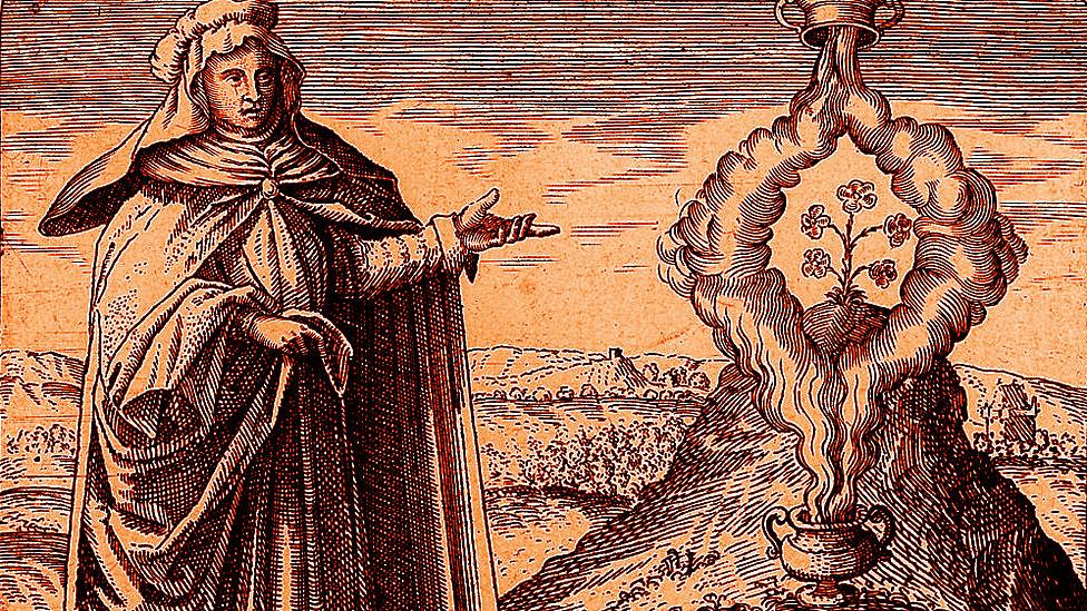 Grabado mostrando a María Profetísima, del libro de Michael Maier
