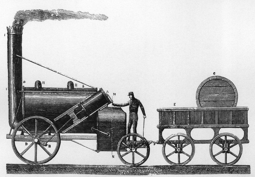 El cohete, la locomotora diseñada y construida por George and Robert Stephenson