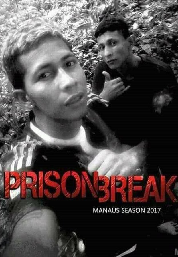 The selfie of Bremer and a fellow escapee made up to look like a poster advertising the TV series Prison Break