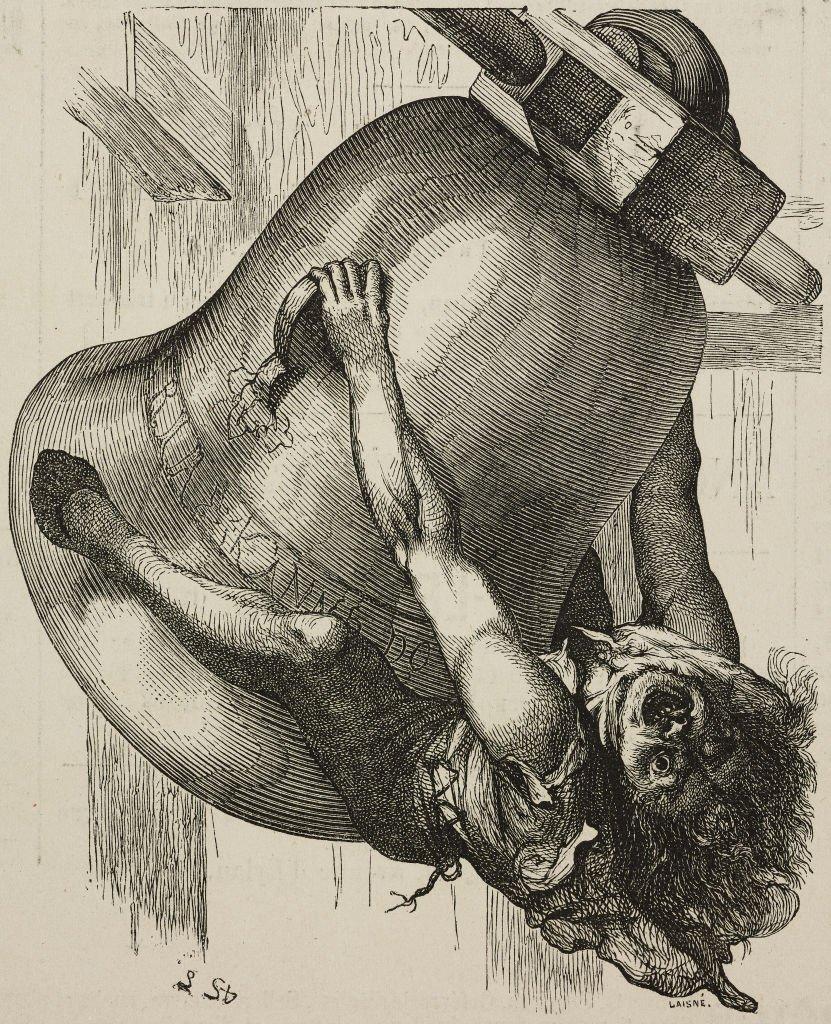Quasimodo se aferra a una campana. Dibujo de Lemud de El jorobado de Notre-Dame, de Victor Hugo, ilustración de L´Illustration, Journal Universel, de 1877.