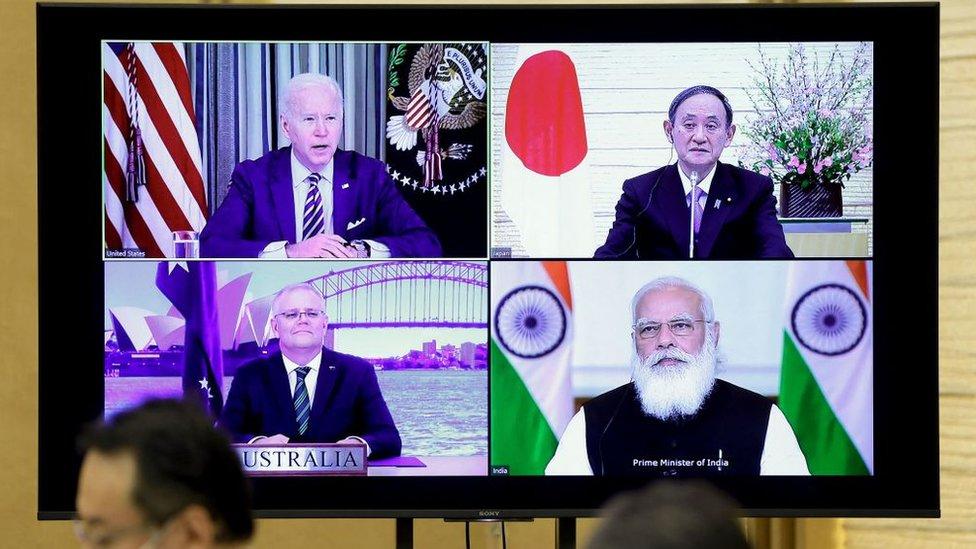 3月12日,四方領導人線上會面。