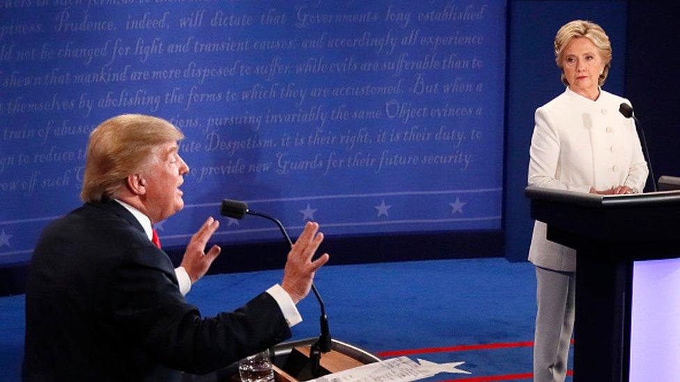 Donald Trump y Hillary Clinton durante la campaña elecoral de 2016.