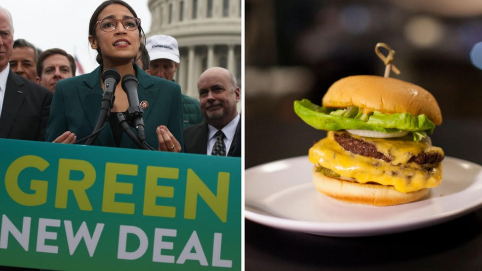 Congresswoman Alexandria Ocasio-Cortez launching the Green New Deal and a hamburger