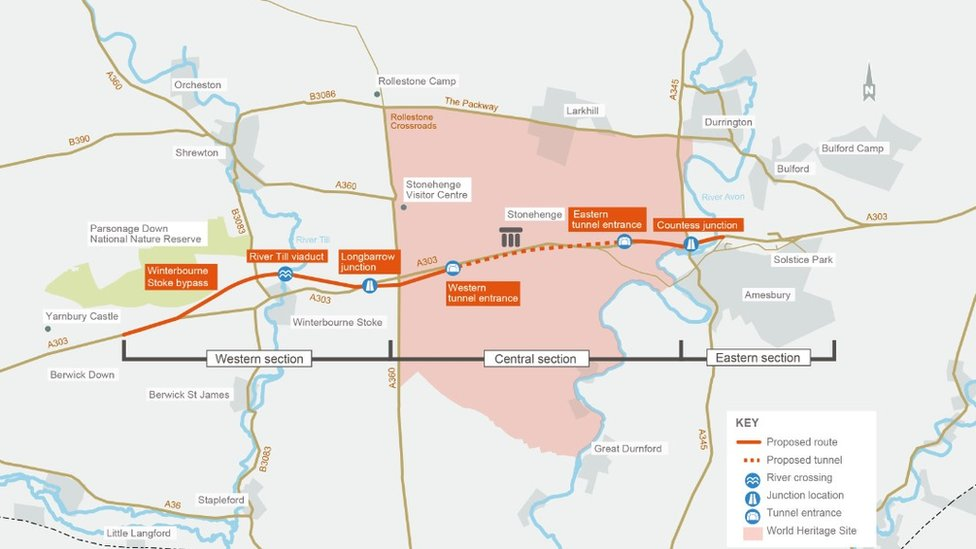 Map of proposed Stonehenge tunnel