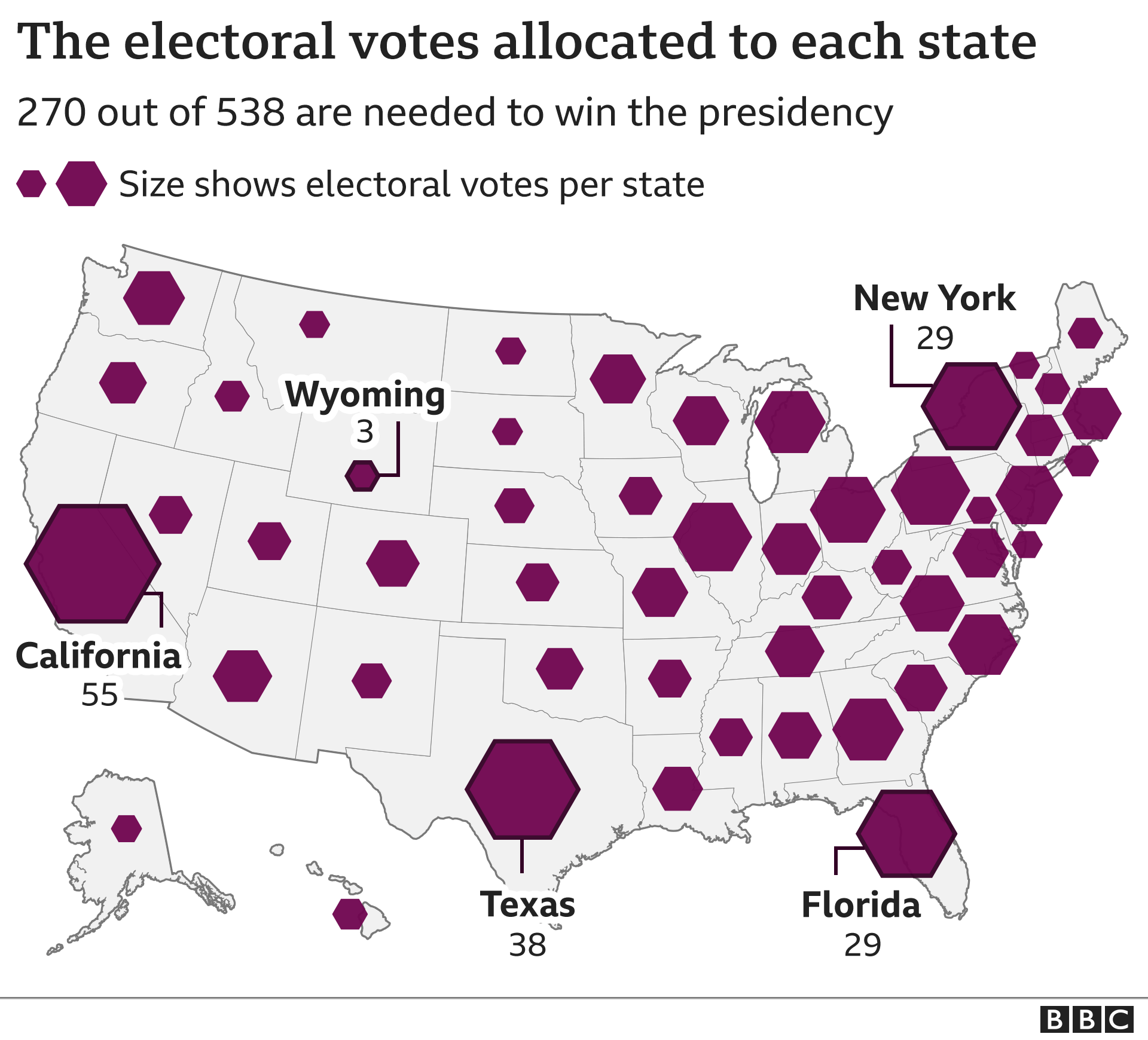 Graphic: A map of the US showing how many electoral college votes are allocated to each state