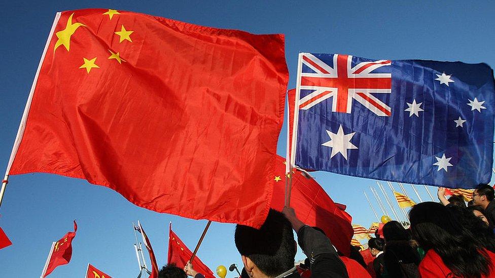 Banderas de China y Australia, Juegos Olímpicos de Pekín 2008.