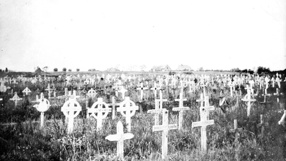 Wooden crosses at The Huts Cemetery