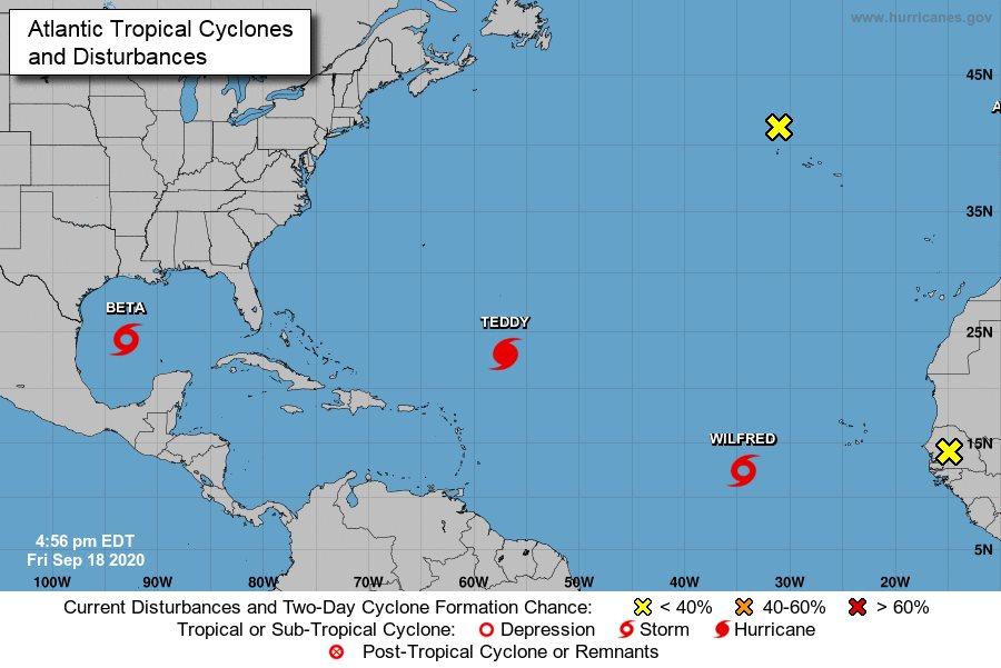 Un mapa con las tormentas activas en el Atlántico
