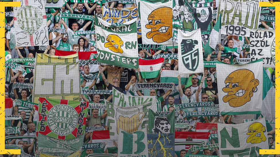 Ferencvaros fans display banners supporting their club