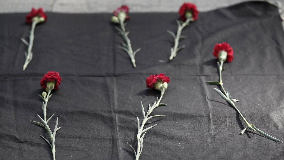 Carnations laid out at the site of earlier blasts in Ankara, Turkey - Saturday 10 October 2015