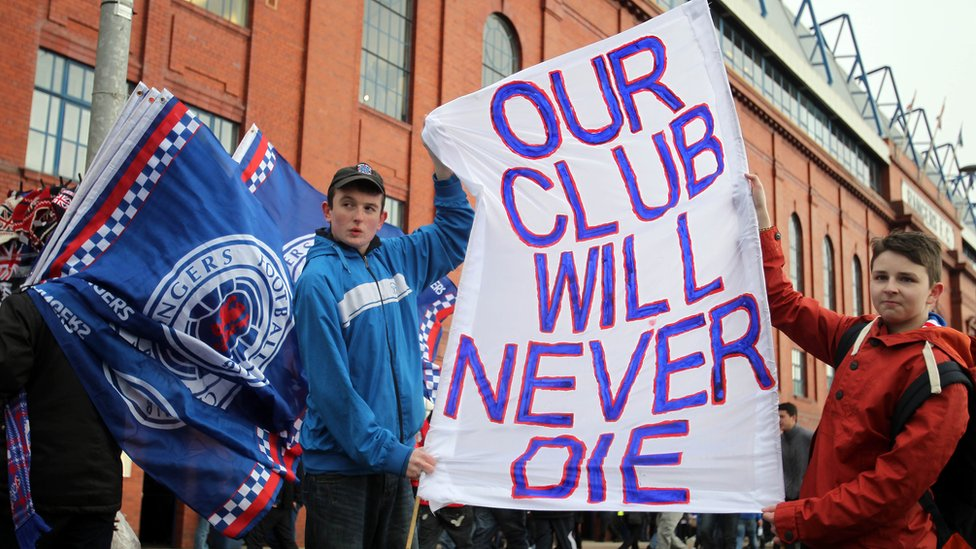 Rangers fans protest against former owner Craig Whyte and show their support for Rangers outside Ibrox Stadium prior to the Scottish Premier League football match between Rangers and Kilmarnock at Ibrox Stadium in Glasgow, Scotland on February 18, 2012.