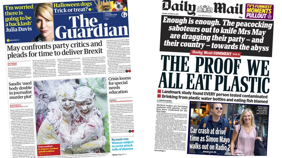 The Papers: Defiant May and plastic 'polluting' people