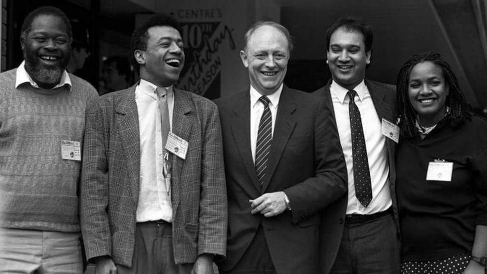 Keith Vaz (second from right) with Bernie Grant, Paul Boateng, Neil Kinnock and Diane Abbott at the conference following his election in 1987